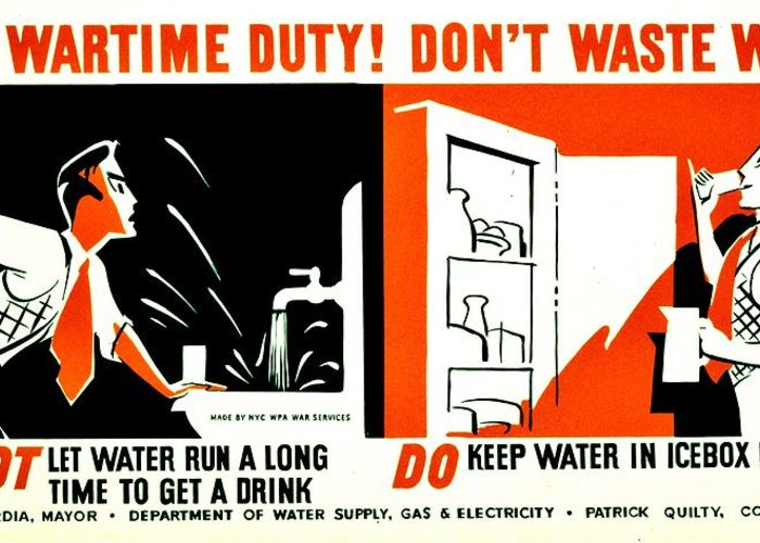 World Greeting Card featuring the photograph War Poster - Ww2 - Dont Waste Water 3 by Benjamin Yeager