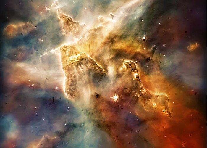 Universe Greeting Card featuring the photograph Warm Carina Nebula Pillar 3 by Jennifer Rondinelli Reilly - Fine Art Photography