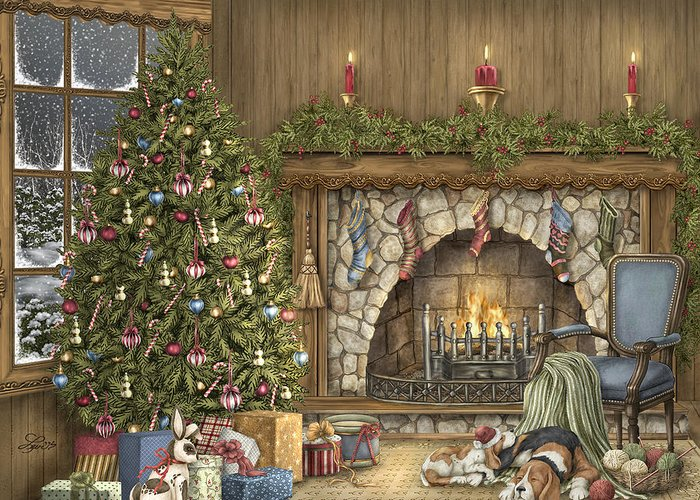 Christmas Greeting Card featuring the painting Warm Christmas by Beverly Levi-Parker