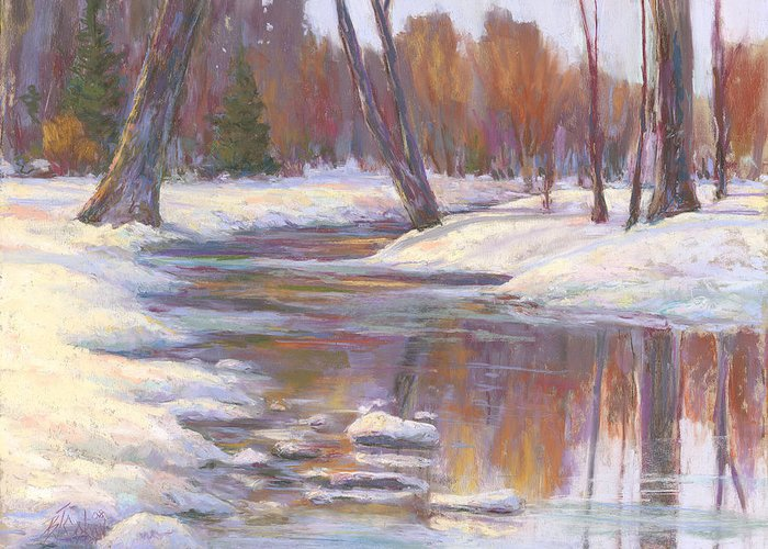 Snow And Stream Greeting Card featuring the painting Warm Winter Reflections by Billie Colson
