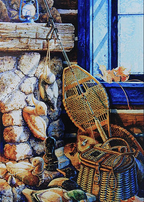 Masculine Still Life Paintings Greeting Card featuring the painting Warm Winter Wishes by Hanne Lore Koehler