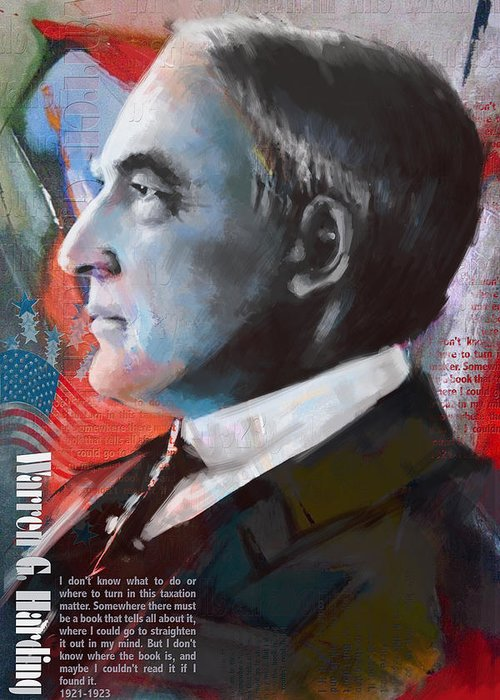 Warren G. Harding Greeting Card featuring the painting Warren G. Harding by Corporate Art Task Force