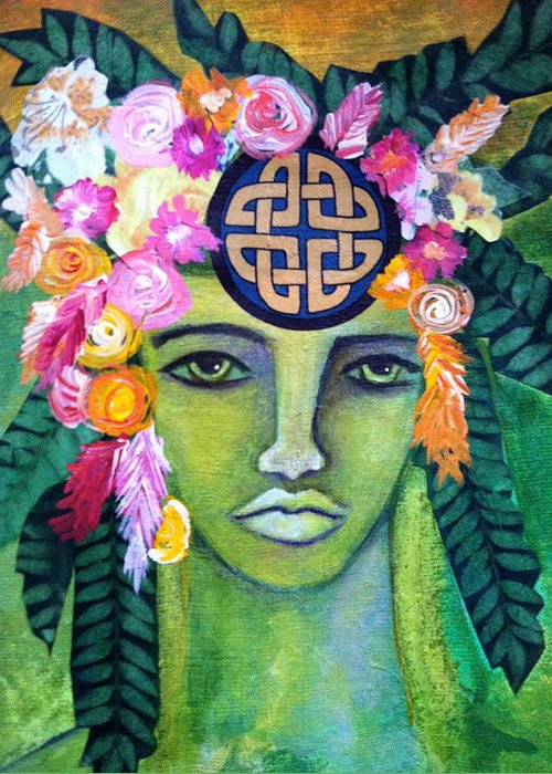 Goddess Greeting Card featuring the painting Warrior Goddess by Tracie Hanson