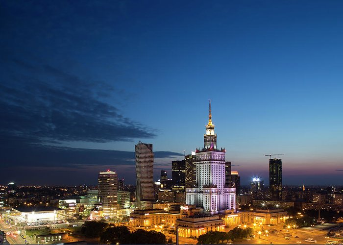 Corporate Business Greeting Card featuring the photograph Warsaw Downtown Skyline In 2013 by Pawel Toczynski