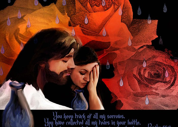 Jesus Greeting Card featuring the digital art Washed In His Love by Jennifer Page