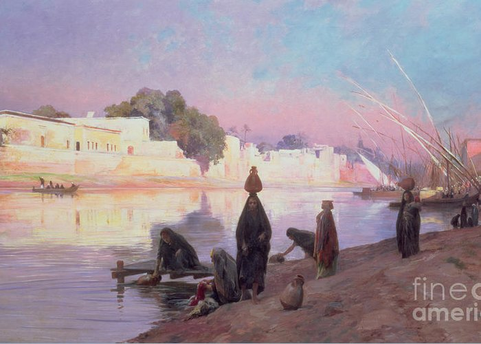 Wash Greeting Card featuring the painting Washerwomen On The Banks Of The Nile by Eugene Alexis Girardet