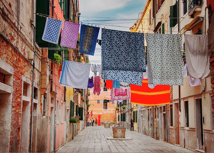 Hanging Greeting Card featuring the photograph Washing Hanging Across Street, Venice by Svjetlana