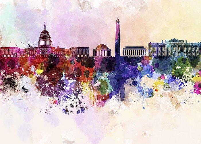 Washington Dc Skyline Greeting Card featuring the digital art Washington Dc Skyline In Watercolor Background by Pablo Romero