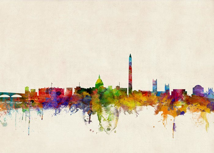 Watercolour Greeting Card featuring the digital art Washington Dc Skyline by Michael Tompsett