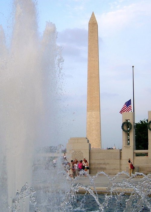 Wahington Monument Greeting Card featuring the photograph Washington Monument At The Wwii Memorial by Barry Bennett