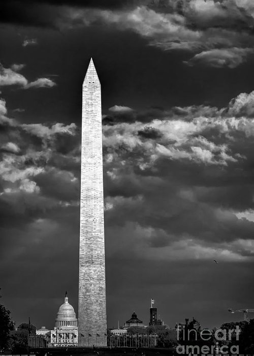 Washington Dc Greeting Card featuring the photograph Washington Monument In Cloudy Sky by Izet Kapetanovic