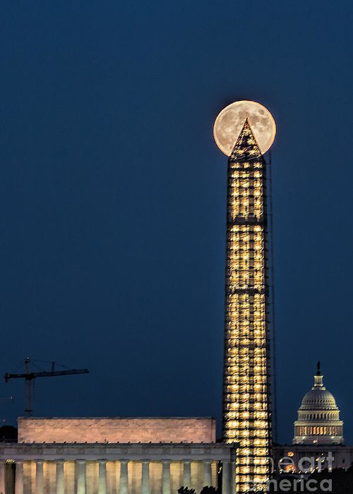 Full Moon Greeting Card featuring the photograph Washington Monument Piercing The Full Moon by Izet Kapetanovic