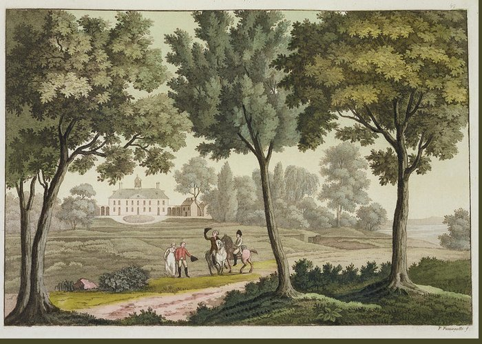 Presidential Residence Greeting Card featuring the drawing Washingtons House At Mount Vernon by Paolo Fumagalli