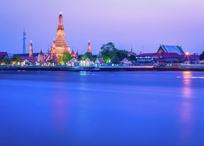 Scenics Greeting Card featuring the photograph Wat Arun Temple Bangkok Thailand by Deimagine