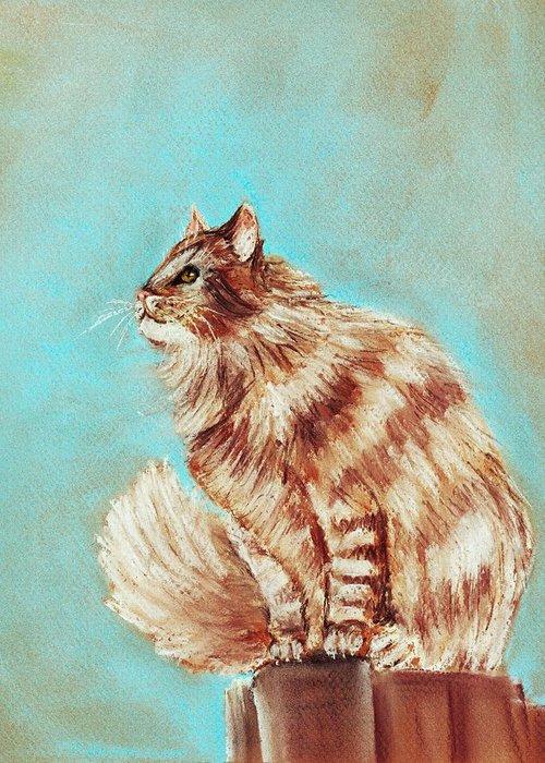 Malakhova Greeting Card featuring the painting Watch Cat by Anastasiya Malakhova