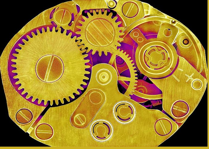 Watch Greeting Card featuring the photograph Watch Movement, Sem by Science Photo Library