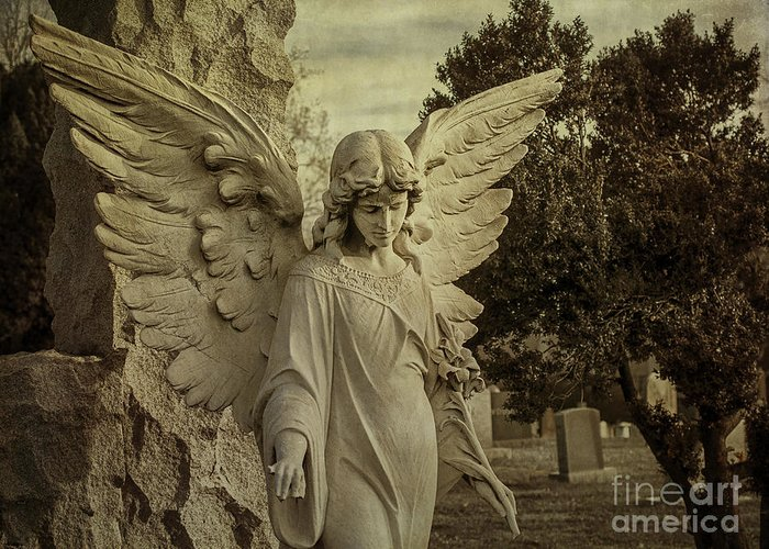 Angel Greeting Card featuring the photograph Watch Over Me by Terry Rowe