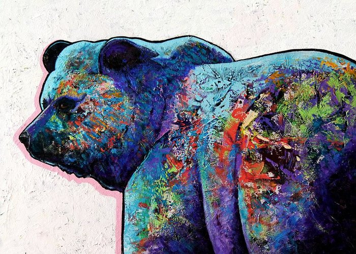 Wildlife Greeting Card featuring the painting Watchful Eyes - Grizzly Bear by Joe Triano