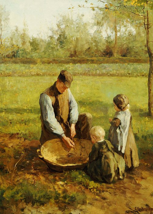 Autumn Greeting Card featuring the painting Watching Father Work by Albert Neuhuys