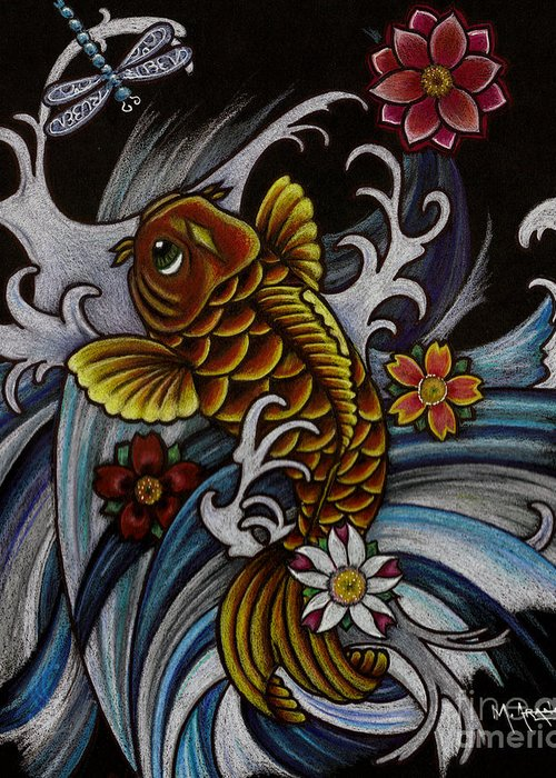 Asian Koi Greeting Card featuring the drawing Watching Over Natilius by Maria Arango