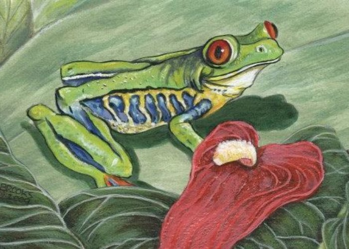 Red Eyed Tree Frog Painting By Richard Brooks. Frog Greeting Card featuring the painting Watching. by Richard Brooks