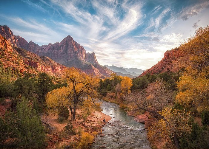 Zion Greeting Card featuring the photograph Watchman Sunset by Michael Zheng