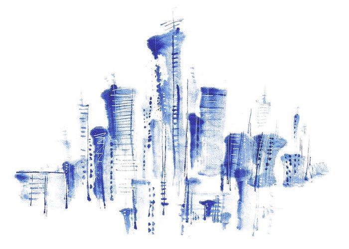 White Background Greeting Card featuring the digital art Water-and-ink Cityscape by Bji/blue Jean Images