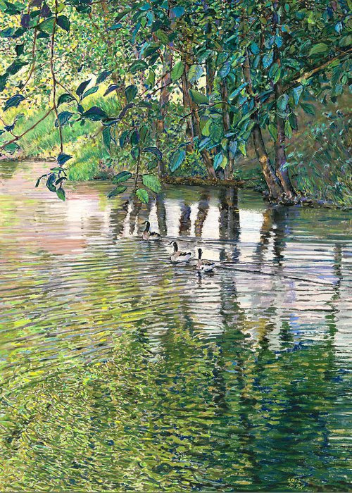 Birdseye Art Studio Greeting Card featuring the painting Water And Woodland by Nick Payne