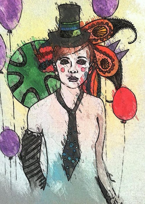 Clown Greeting Card featuring the painting Water Clown by Amy Sorrell
