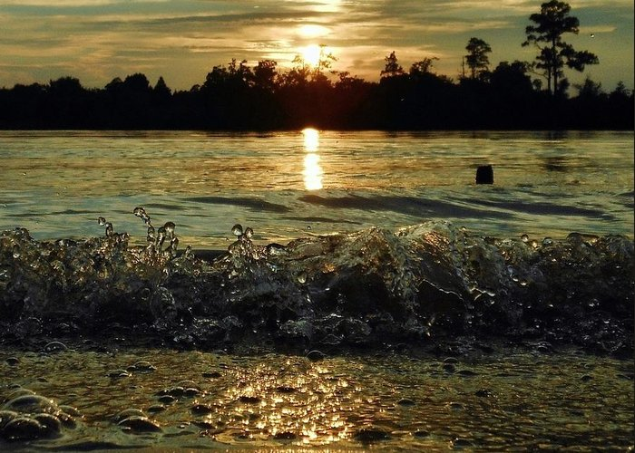 Sunset Greeting Card featuring the photograph Water Dance by Terri Cox