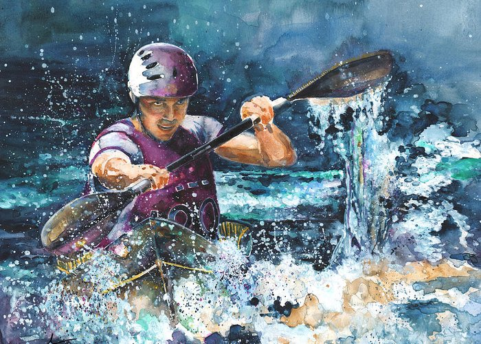 Sports Greeting Card featuring the painting Water Fight by Miki De Goodaboom