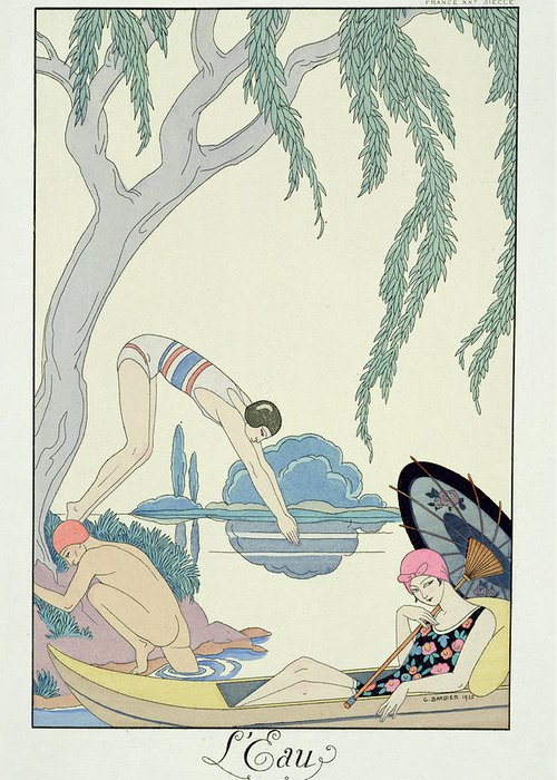 Bathing Greeting Card featuring the painting Water by Georges Barbier