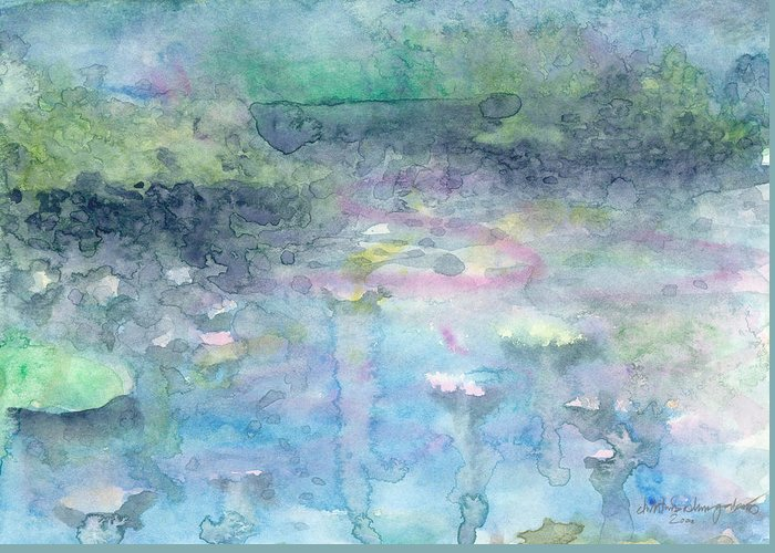 Blue Greeting Card featuring the painting Water Landscape by Christina Rahm Galanis