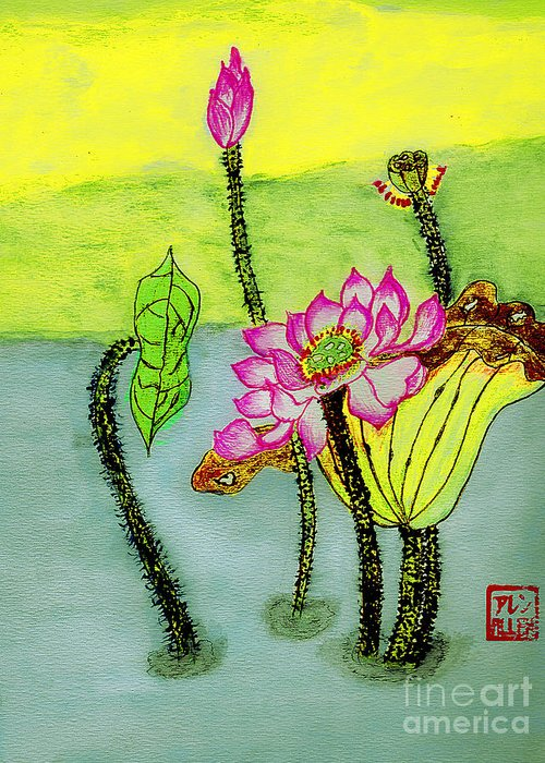 Waterlilies Greeting Card featuring the photograph Water Lilies Chinese Watercolor Art by Merton Allen