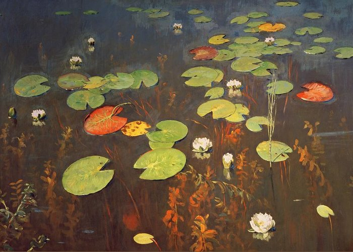 Water Lilies 1895 (oil On Canvas) Crocus; Crocuses; Lily Pad; Pond; Lake; Weed; Pond Greeting Card featuring the painting Water Lilies by Isaak Ilyich Levitan