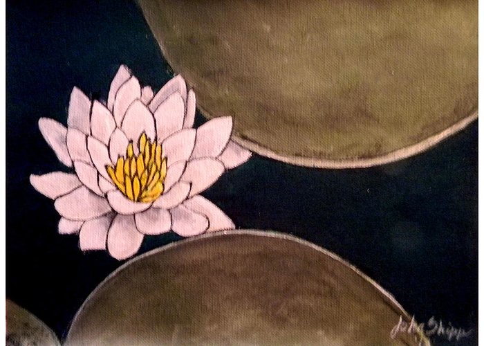 Water Lily Greeting Card featuring the painting Water Lily by John Shipp