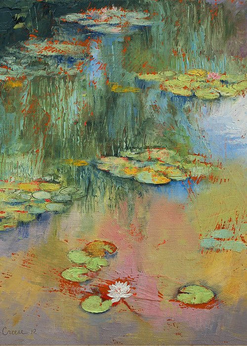 Water Lily Greeting Card featuring the painting Water Lily by Michael Creese