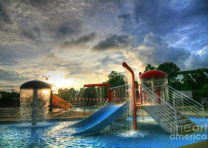 Water Slides At The Ymca At Sunset. Greeting Card featuring the photograph Water by Robert Loe