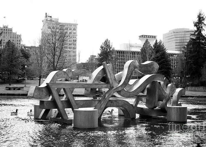 Spokane Greeting Card featuring the photograph Water Sculpture In Spokane by Carol Groenen