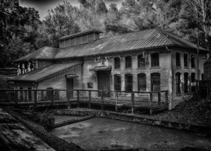 Black And White Greeting Card featuring the pyrography Water Treatment Plant by Greg Bierer