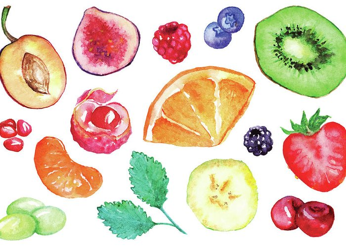 Cherry Greeting Card featuring the digital art Watercolor Exotic Fruit Berry Slice Set by Silmairel