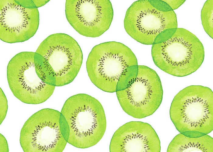 Vitamin C Greeting Card featuring the digital art Watercolor Green Kiwi Pattern by Saemilee