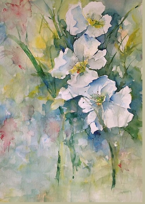 White Greeting Card featuring the painting Watercolor Wild Flowers by Robin Miller-Bookhout