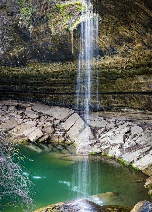 Waterfall At Hamilton Pool Greeting Card featuring the photograph Waterfall At Hamilton Pool by David Morefield