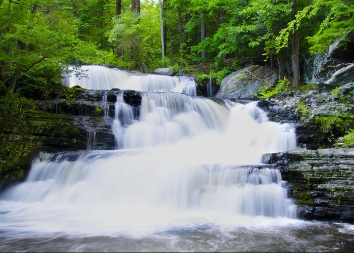 Waterfall Greeting Card featuring the photograph Waterfall In The Pocono Mountains by Bill Cannon