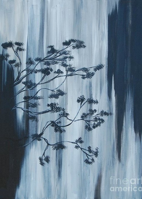 Black Greeting Card featuring the painting Waterfall by Laura Webb