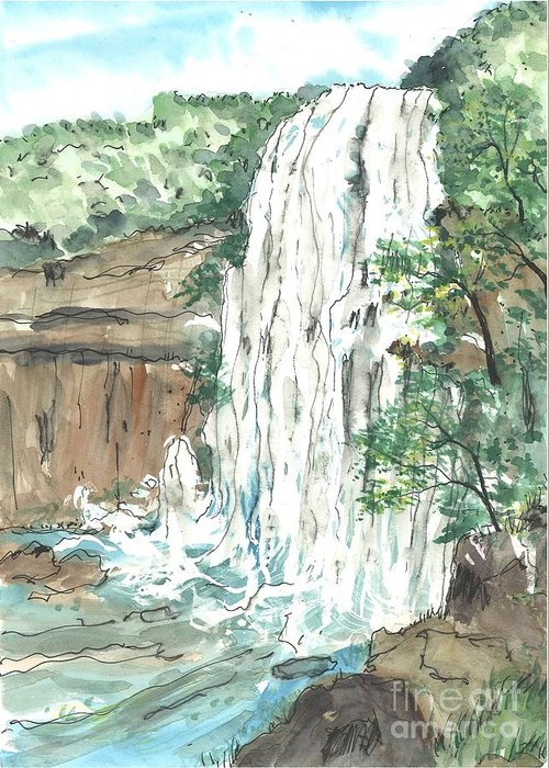 Greeting Card featuring the painting Waterfall by Patrick Grills