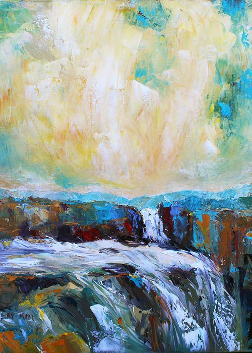 Landscape. Oil Greeting Card featuring the painting Waterfalls 2 by Becky Kim