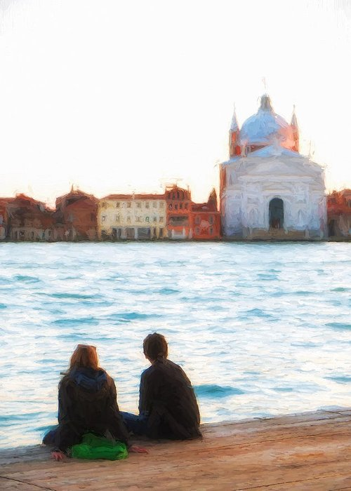 Venice Greeting Card featuring the photograph Waterfront Church Venice by Paul Bucknall