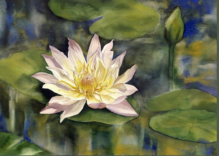 Waterlily Greeting Card featuring the painting Waterlily by Alfred Ng